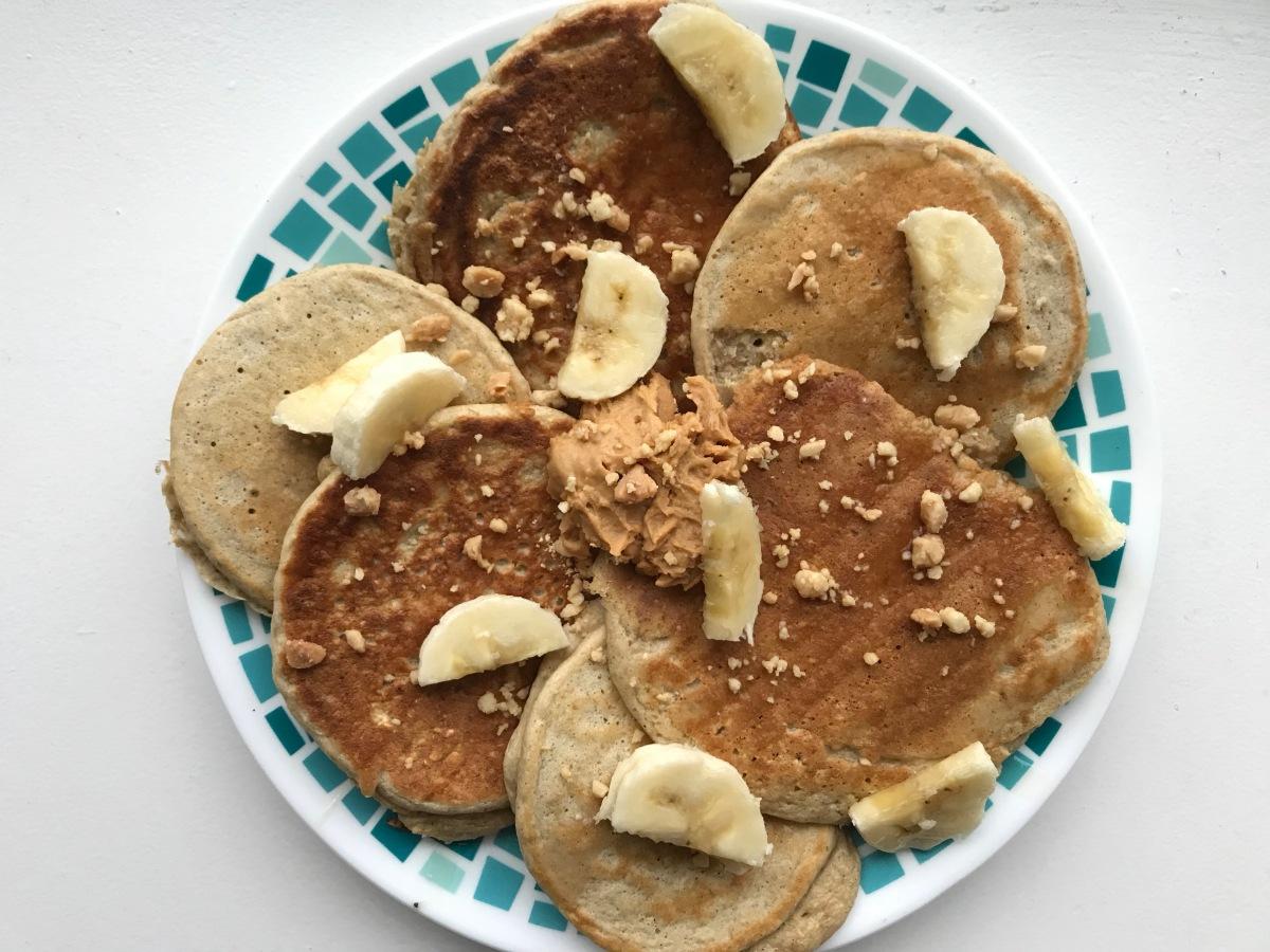 Gluten free Peanut butter banana protein pancakes